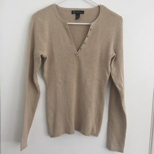 INC Tan Ribbed Silk Blend Henley Sweater